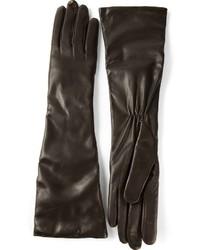 Gants longs en cuir noirs P.A.R.O.S.H.