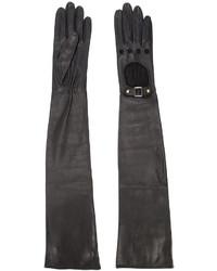 Gants longs en cuir noirs Perrin Paris
