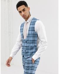 Gilet à carreaux bleu clair Twisted Tailor