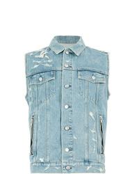 Gilet en jean bleu clair Balmain
