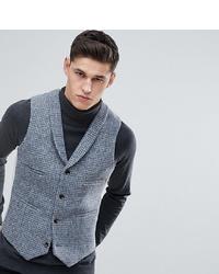 Gilet en laine à carreaux gris