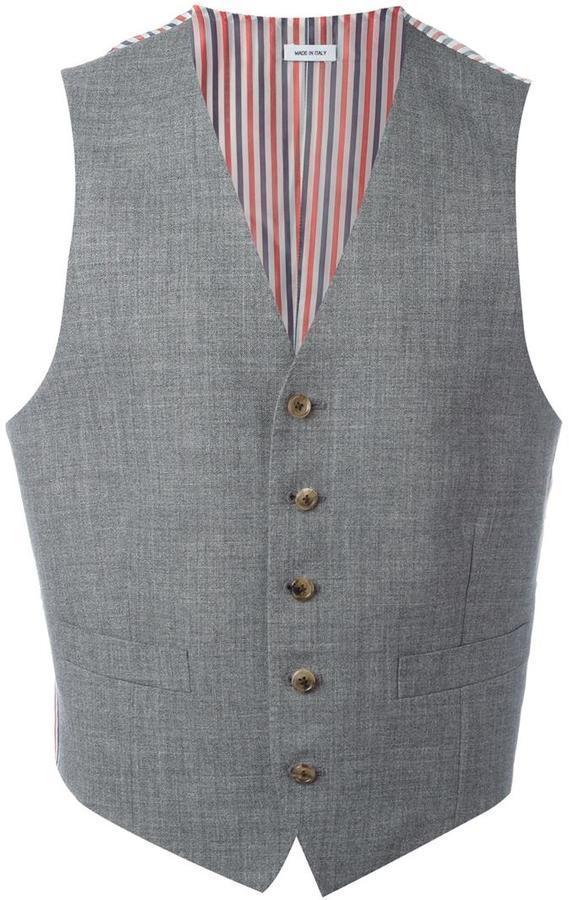 Gilet en laine à rayures horizontales gris Thom Browne