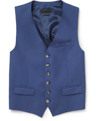 Gilet en laine bleu Alexander McQueen