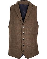 Gilet en laine écossais marron foncé