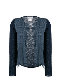 Gilet en tricot bleu marine Lamberto Losani