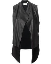 Gilet sans manches en cuir noir DKNY