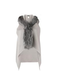 Gilet sans manches en fourrure en tricot gris Fabiana Filippi