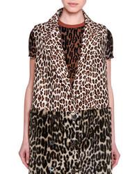 Gilet sans manches en fourrure imprimé léopard brun clair Stella McCartney