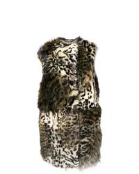 Gilet sans manches en fourrure imprimé léopard marron clair Stella McCartney