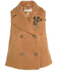 Gilet sans manches en laine marron clair