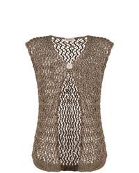 Gilet sans manches en tricot brun Blanca