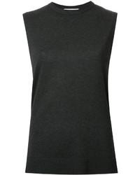 Gilet sans manches en tricot gris foncé Enfold