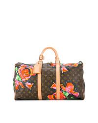 Grand sac en cuir à fleurs marron Louis Vuitton Vintage