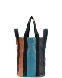 Grand sac en cuir à rayures verticales multicolore Marni