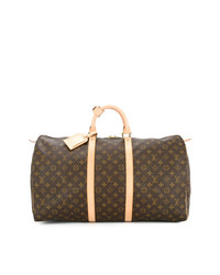 Grand sac en cuir brun Louis Vuitton Vintage