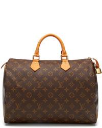 Grand sac en cuir imprimé brun foncé