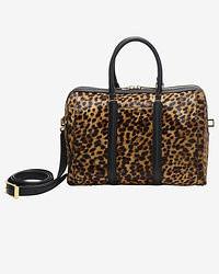 Grand sac en cuir imprimé léopard marron