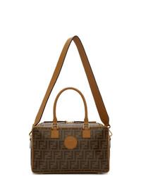 Grand sac en cuir imprimé marron foncé Fendi