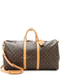 Grand sac en cuir imprimé marron foncé Louis Vuitton