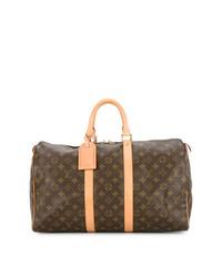 Grand sac en cuir imprimé marron Louis Vuitton Vintage