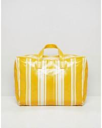 Grand sac en cuir jaune Mango