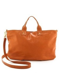 Grand sac en cuir marron clair Clare Vivier