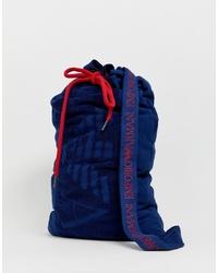 Grand sac en toile bleu marine Emporio Armani