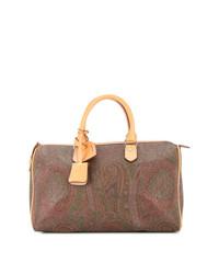 Grand sac en toile imprimé marron Etro