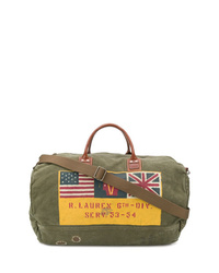 Grand sac en toile imprimé olive Polo Ralph Lauren