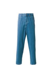 Jean à rayures verticales bleu