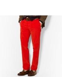 Jean en velours côtelé rouge