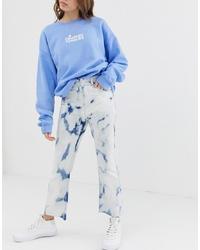 Jean flare imprimé tie-dye bleu clair ASOS DESIGN