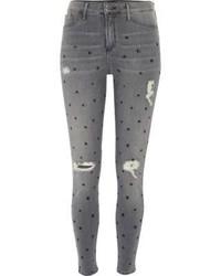Jean skinny à étoiles gris