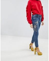 Jean skinny à fleurs bleu New Look