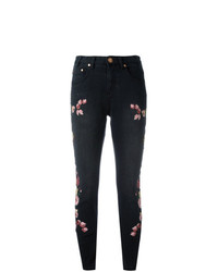 Jean skinny à fleurs noir One Teaspoon