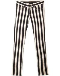 Jean skinny à rayures verticales blanc et noir