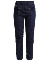 Jean skinny à rayures verticales bleu marine