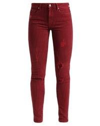 Jean skinny à rayures verticales bordeaux Pepe Jeans
