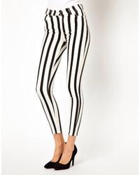 Jean skinny à rayures verticales noir et blanc Just Female