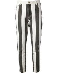 Jean skinny à rayures verticales noir et blanc Laurence Dolige