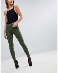 Jean skinny à rayures verticales vert foncé ASOS DESIGN