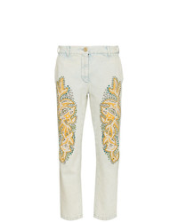 Jean skinny brodé blanc Gucci