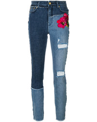 Jean skinny brodé bleu marine Dolce & Gabbana