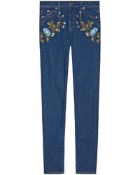 Jean skinny brodé bleu marine Gucci
