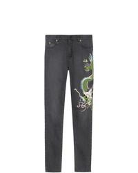 Jean skinny brodé noir Gucci