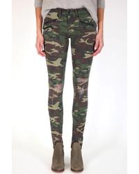 Jean skinny camouflage vert foncé