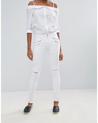 Jean skinny déchiré blanc