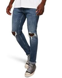Jean skinny déchiré bleu