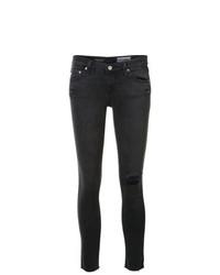 Jean skinny déchiré gris foncé AG Jeans