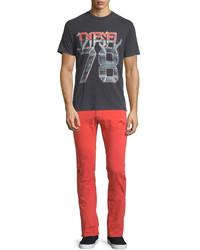 Jean skinny déchiré rouge